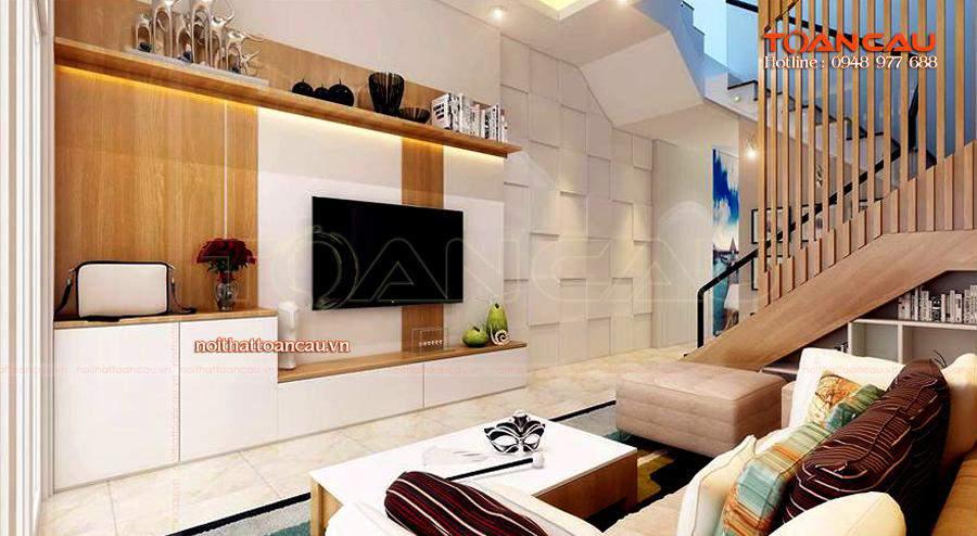 Mẫu phòng khách đẹp cho nhà phố với đồ nội thất cao cấp làm từ gỗ tự nhiên