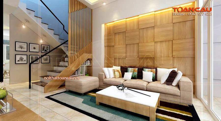 Mẫu phòng khách đẹp cho nhà phố với bộ bàn ghế Sofa hiện đại, kệ Tivi gỗ cao cấp nhất.