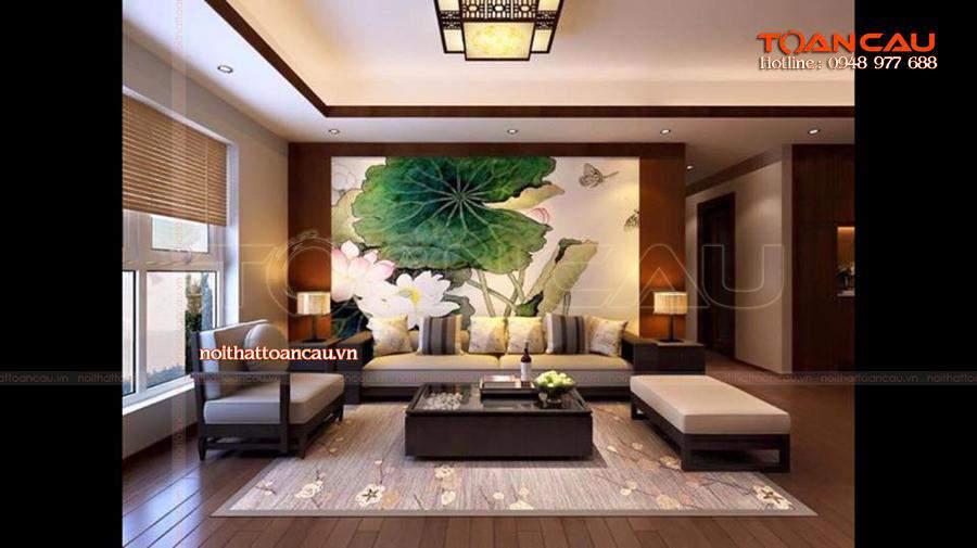 Mẫu bộ bàn ghế Sofa đẹp tại nhà khách vô cùng hấp dẫn, thêm vào đó là trang trí nội thất rất bắt mắt