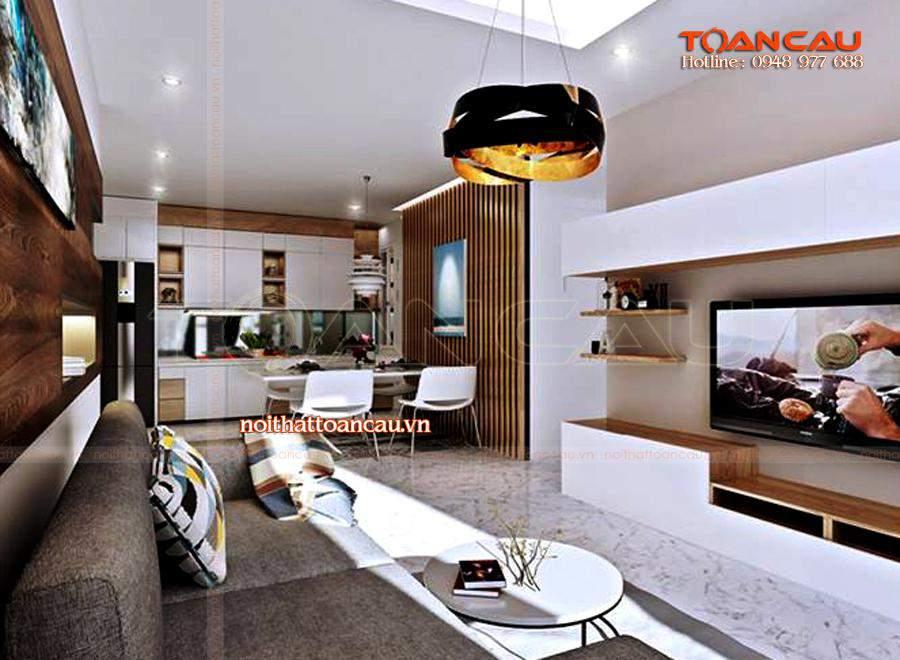 Thiết kế nội thất phòng sinh hoạt chung, ấn tượng nhất, chất lượng làm bằng gỗ tự nhiên cao cấp, đảm bảo chất lượng khi sử dụng.
