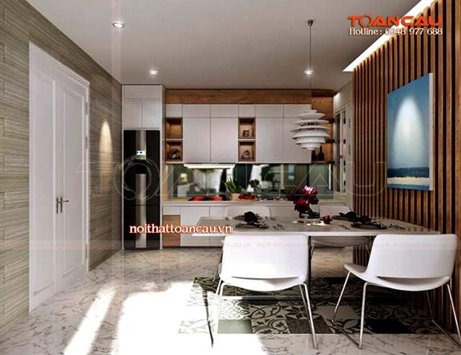 Thiết kế nội thất phòng sinh hoạt chung, ấn tượng nhất, bộ bàn ghế ăn sang trọng, làm nổi bật cho căn nhà.