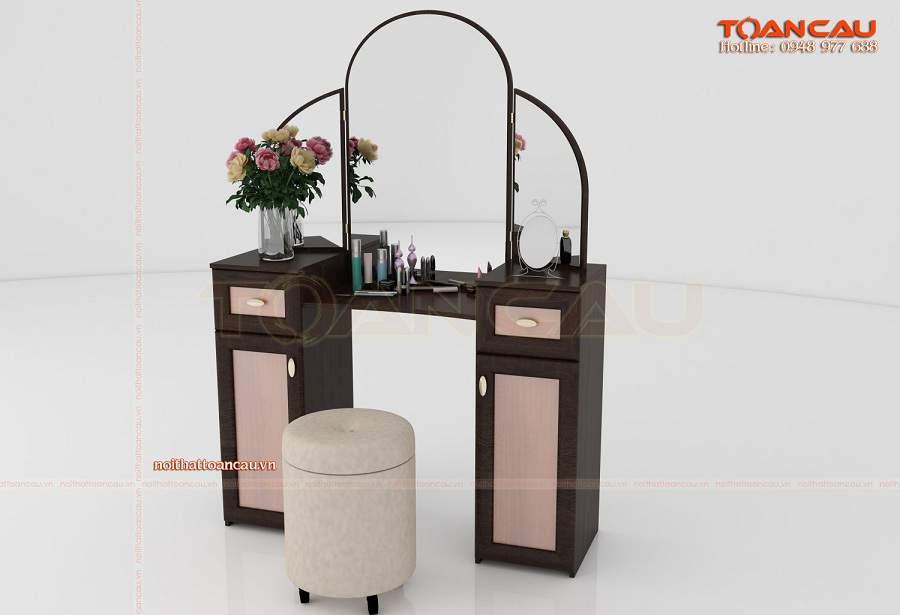 Mẫu bàn phấn gỗ sồi đẹp giá rẻ gương gấp
