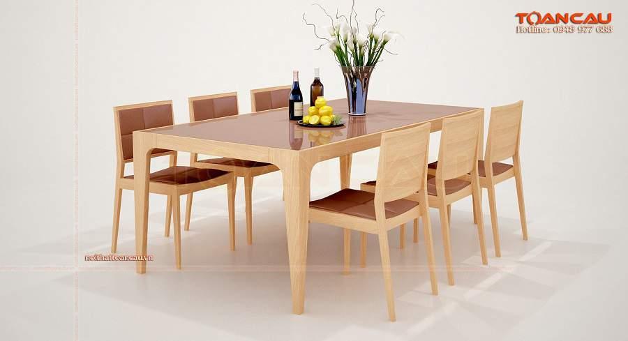 Bộ bàn ăn 6 ghế gỗ sồi nga bọc da