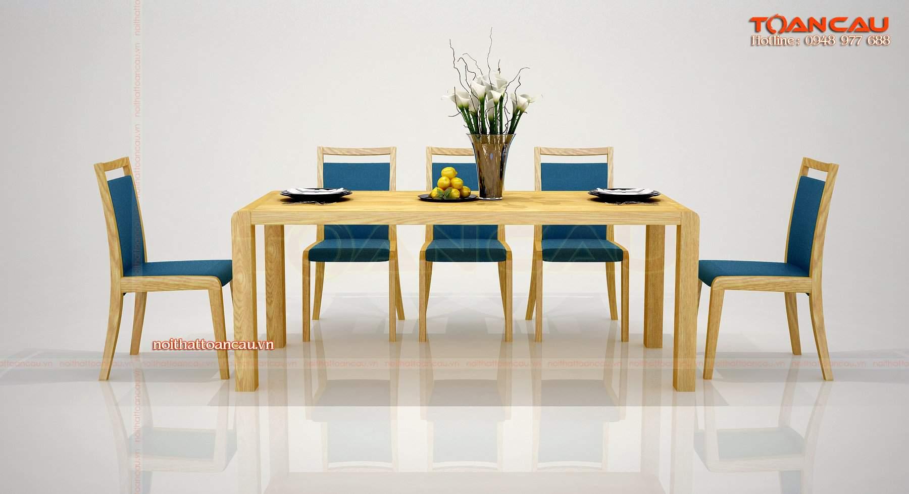 Mẫu bàn ăn gỗ sồi nga đẹp và hiện đại