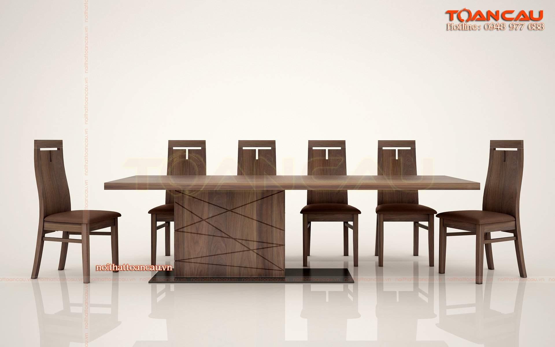 Bộ bàn ăn gỗ walnut 8 ghế - TC845