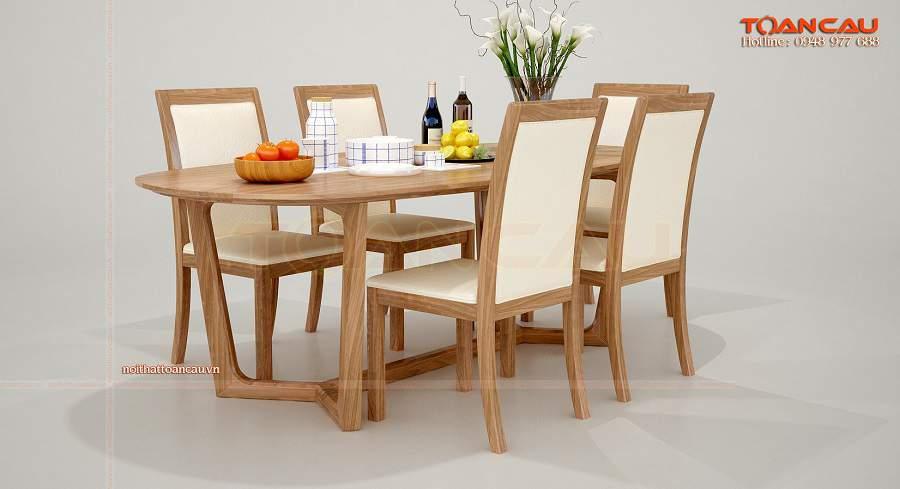 Bộ bàn ăn gỗ hình bầu dục đẹp cuốn hút