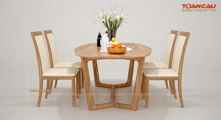 Bộ bàn ăn gỗ hình bầu dục đẹp mê hồn
