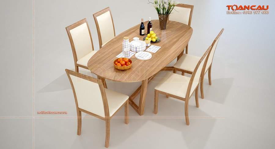 Bộ bàn ăn gỗ hình bầu dục sang trọng