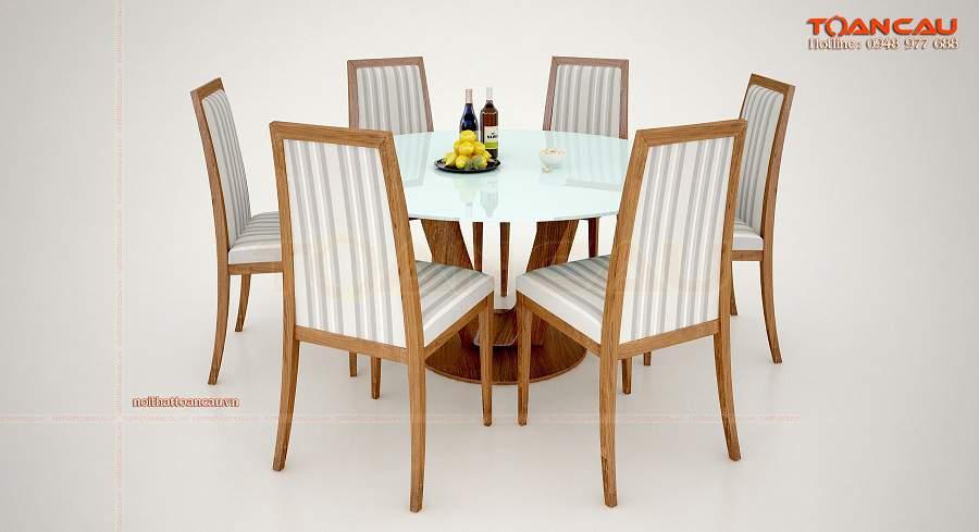 Bộ bàn ăn tròn 6 ghế đẹp sang trọng