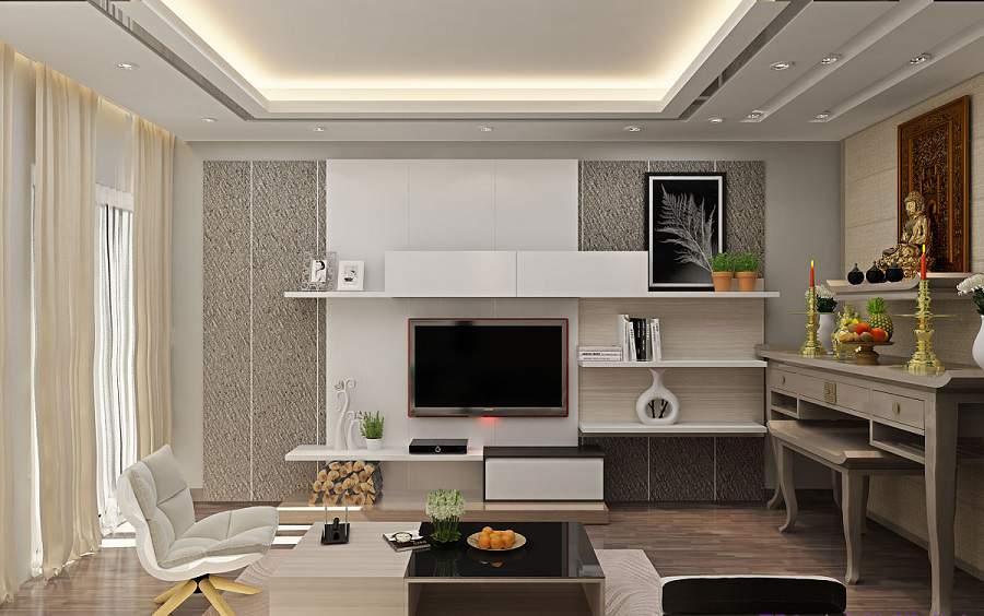 Bố trí bàn thờ trong phòng khách chung cư hiện đại