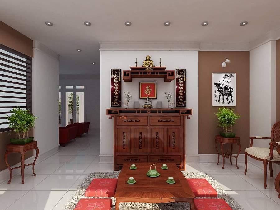 Bố trí bàn thờ trong phòng khách chung cư hiện đại và sang nhất