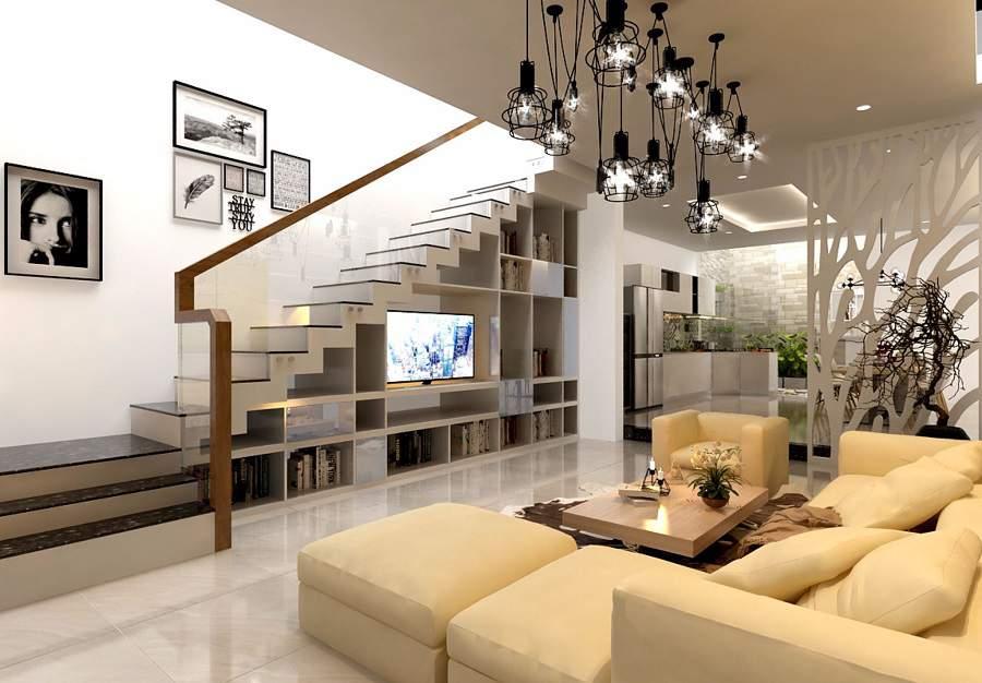 Thiết kế phòng khách có cầu thang giúp tiết kiệm diện tích