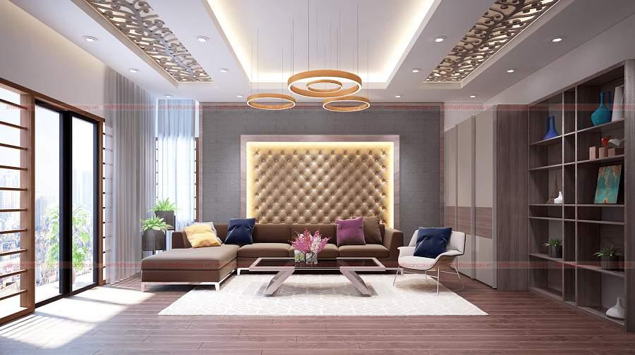 Thiết kế phòng khách nhỏ gỗ công nghiệp An cường bền bỉ theo thời gian