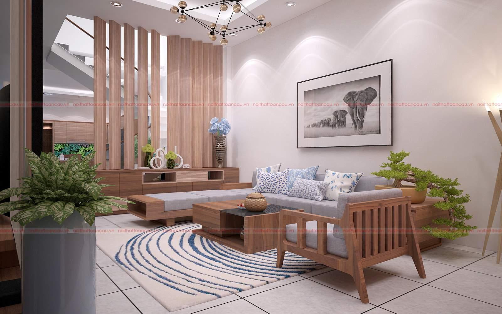 Mẫu thiết kế phòng khách đẹp bằng gỗ óc chó tại Hà Nam đẹp và sang