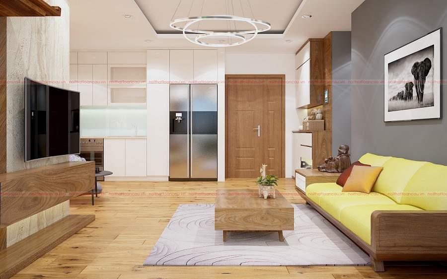 Thiết kế nội thất căn hộ chung cư bằng gỗ tự nhiên
