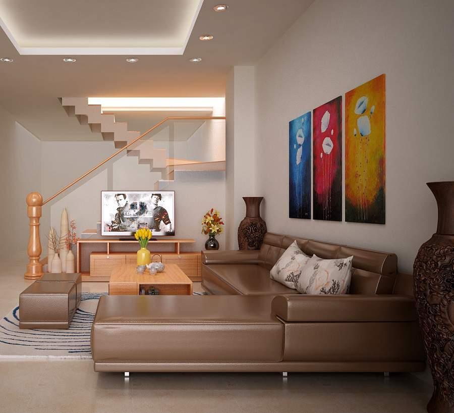 Thiết kế phòng khách nhỏ gỗ công nghiệp An cường  rất tiện và đa năng