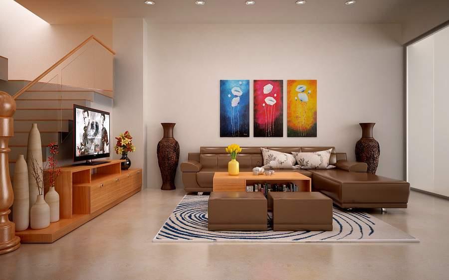 trang trí tường phòng khách nhà ống hiện đại phù hợp với mọi nhà