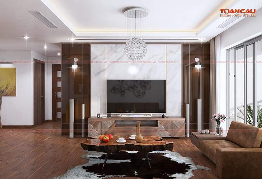 Mẫu thiết kế phòng khách đẹp bằng gỗ óc chó tại Hà Nam đẹp