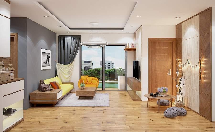 Mẫu thiết kế phòng khách bằng gỗ óc chó mang lại sắc màu hài hòa cho không gian ngôi nhà