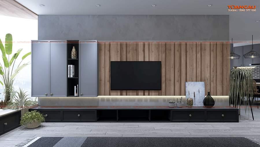 Thiết kế nội thất nhỏ gỗ óc chó