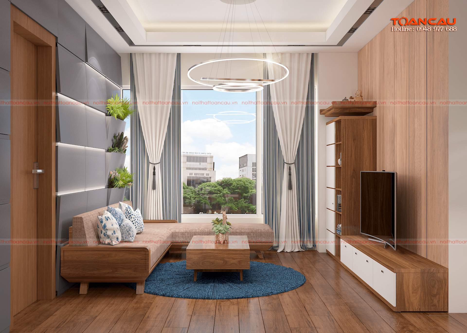 Thiết kế phòng khách nhỏ gỗ công nghiệp An cường đẹp nhất