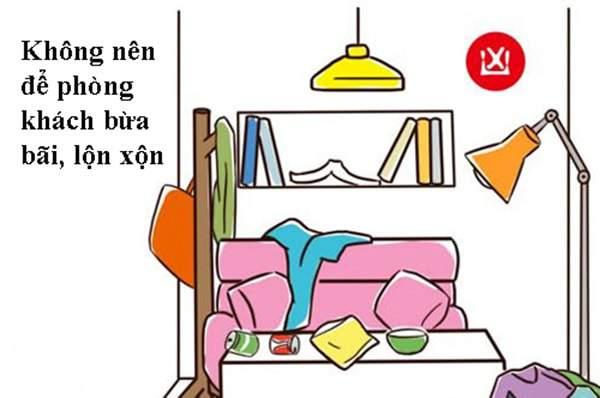 Cách bày trí phòng khách theo phong thủy không nên để căn phòng bừa bộn