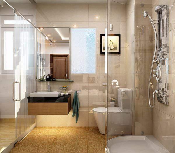 Dùng vách ngăn hoặc cửa kính để ngăn cách không gian nhà vệ sinh
