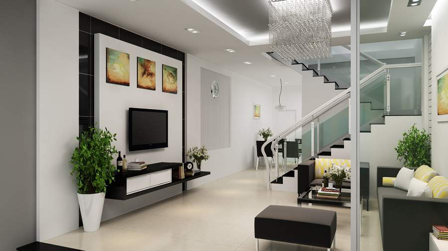 cách bài trí căn phòng hợp lý trong căn hộ có cầu thang ở phòng khách