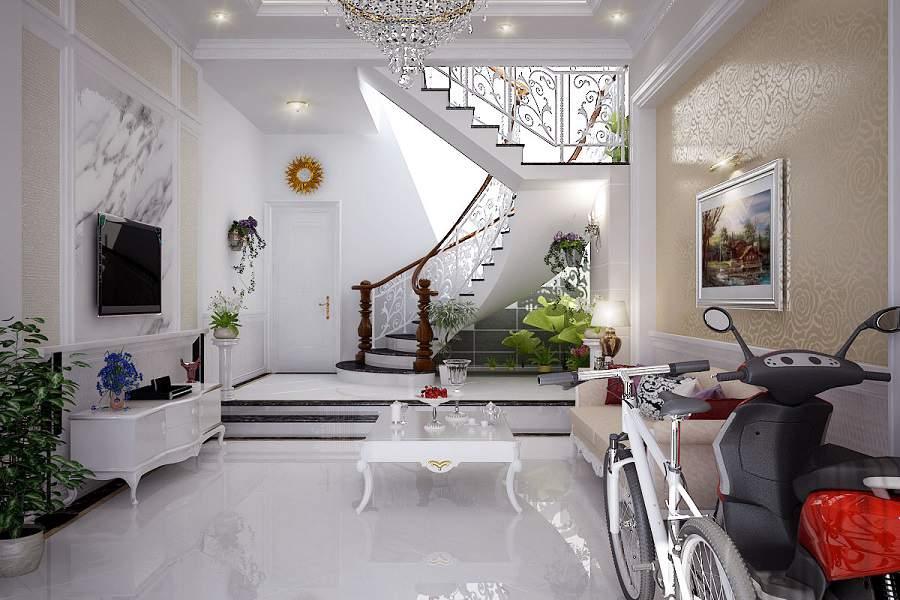 cầu thang phòng khách nhà ống tiện lợi