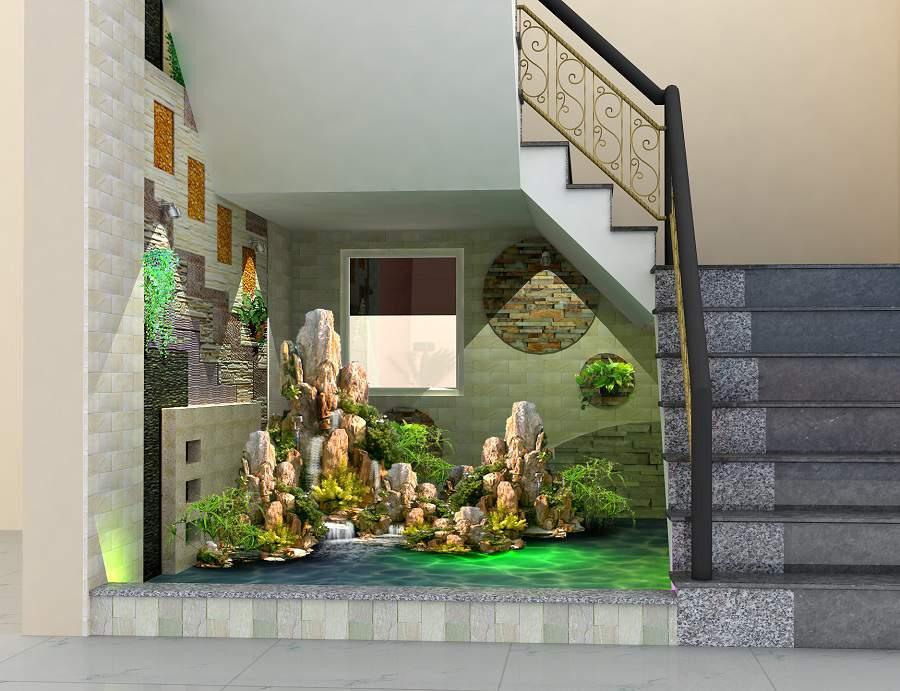 Cách trang trí gầm cầu thang bằng tiểu cảnh gầm cầu thang