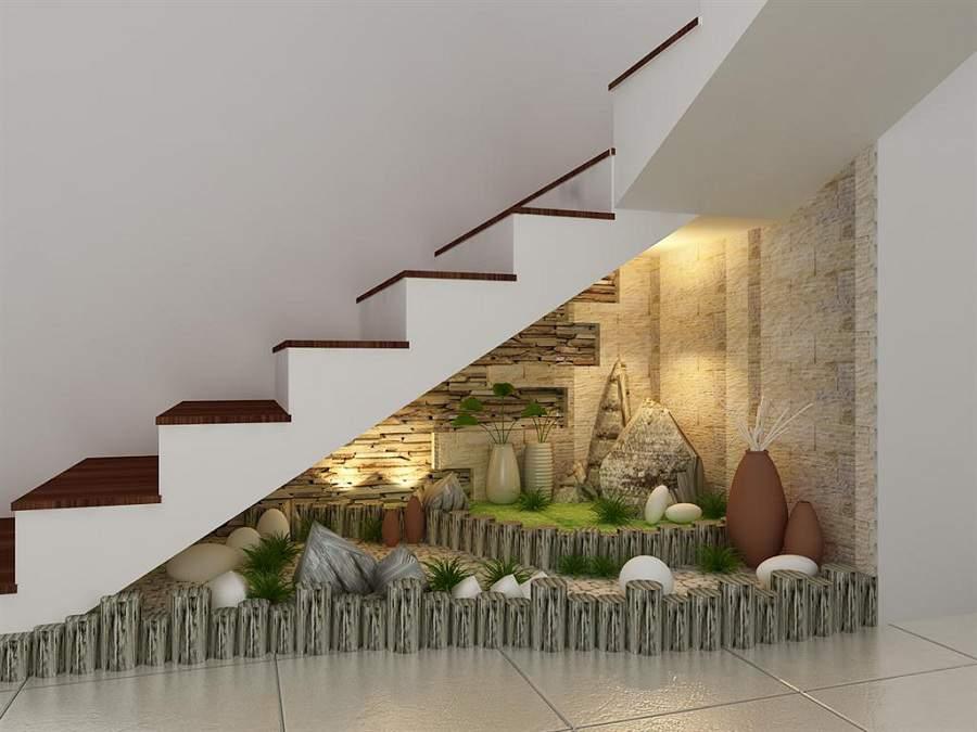Chú ý cách trang trí cầu thang  bằng tiểu cảnh gầm cầu thang