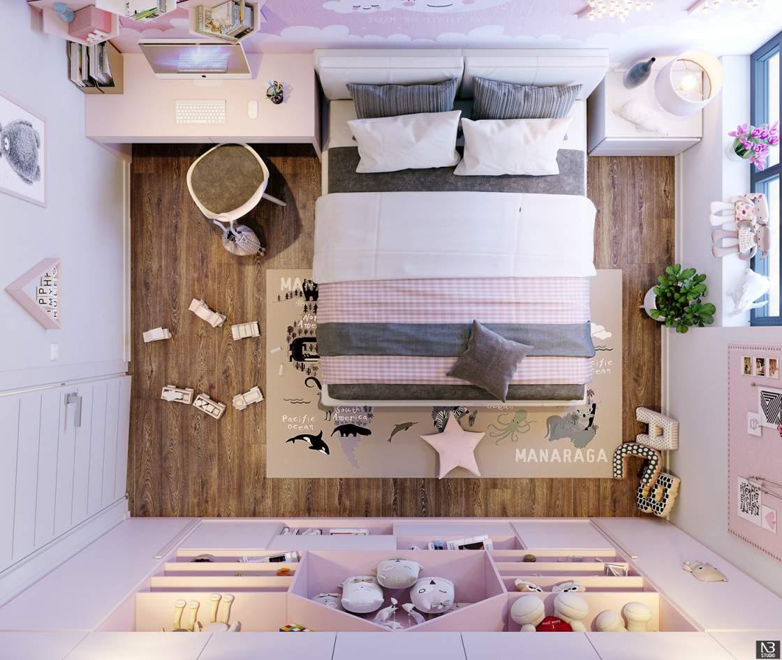 Trang trí phòng ngủ dễ thương đơn giản với những món đồ nội thất đẹp