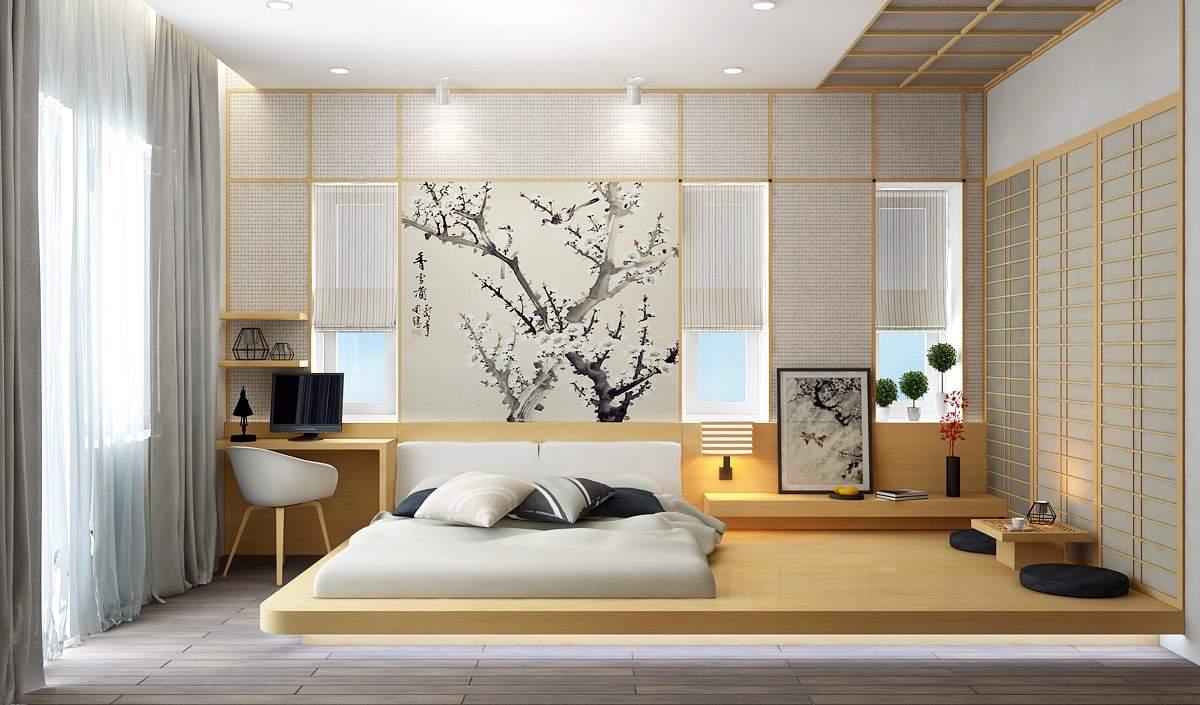 Cách trang trí phòng ngủ không có giường đẹp không rời mắt