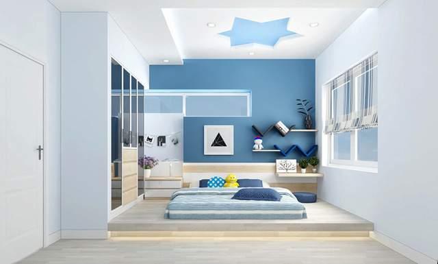 Với gam màu nhẹ nhàng trong thiết kế phòng ngủ không giường