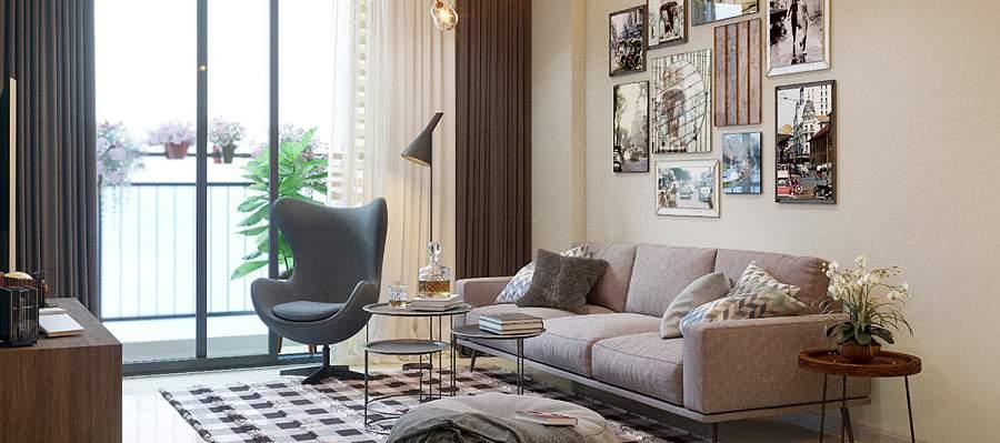 Cách treo ảnh gia đình trong phòng khách hiện đại