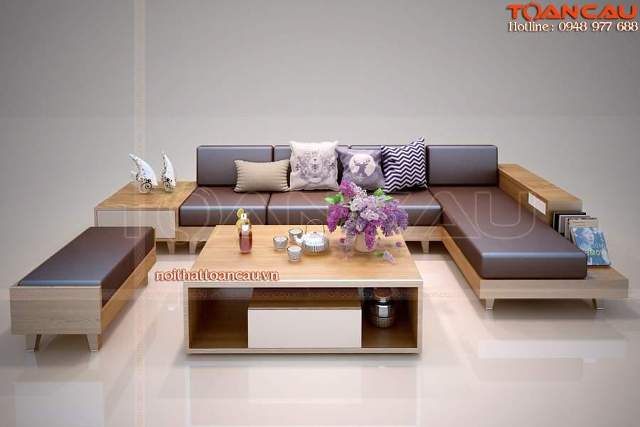 Bàn ghế sofa gỗ chữ L - TC 143