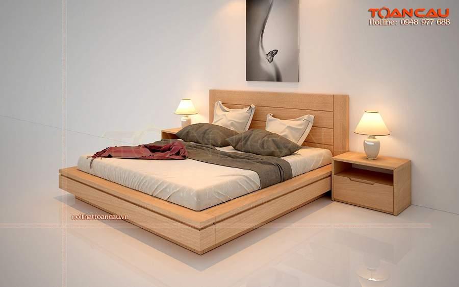Mẫu giường ngủ gỗ sồi đẹp cho nhà nhỏ