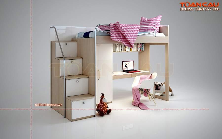 Giường kết hợp bàn học và tủ đồ hiện đại
