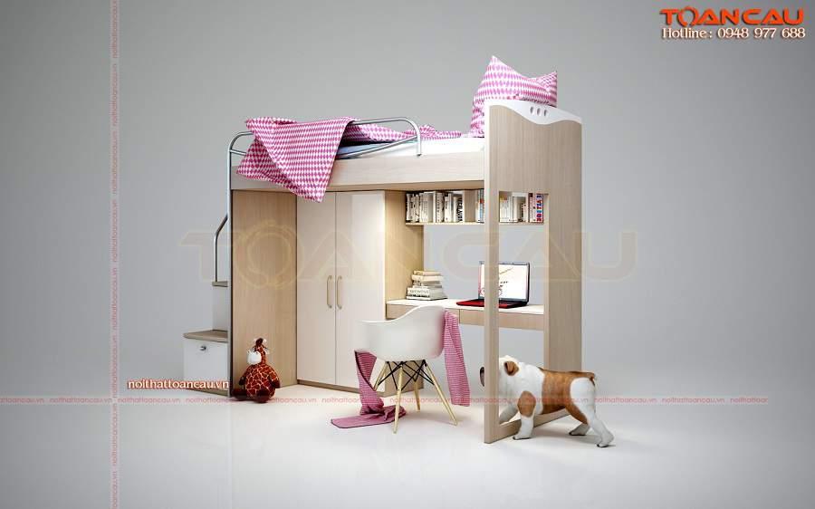 Giường kết hợp bàn học và tủ đồ cho nhà chật