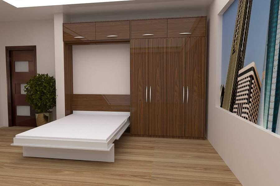 Mẫu thiết kế phòng ngủ nhỏ với giường ngủ kết hợp tủ quần áo