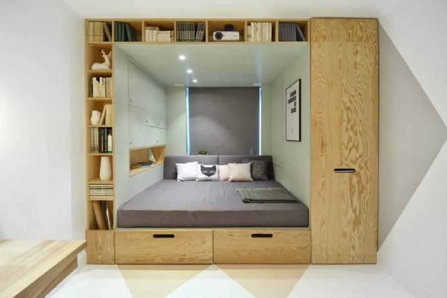 Giường kết hợp tủ quần áo cho phòng ngủ thông minh