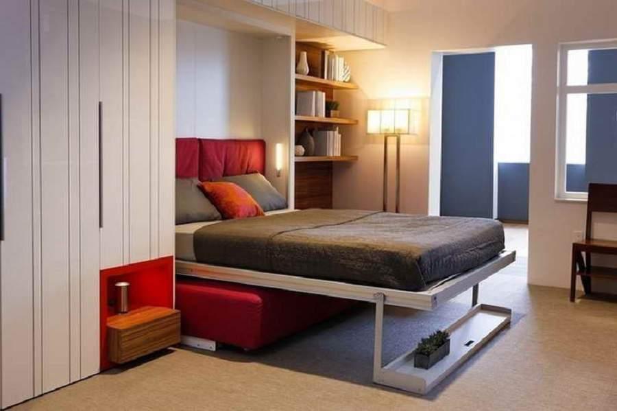 giường kết hợp tủ quần áo gam màu dễ chịu