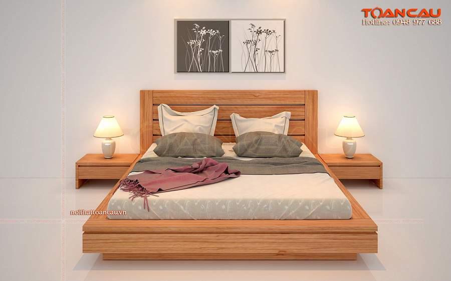 Mẫu giường ngủ gỗ sồi đẹp hiện đại
