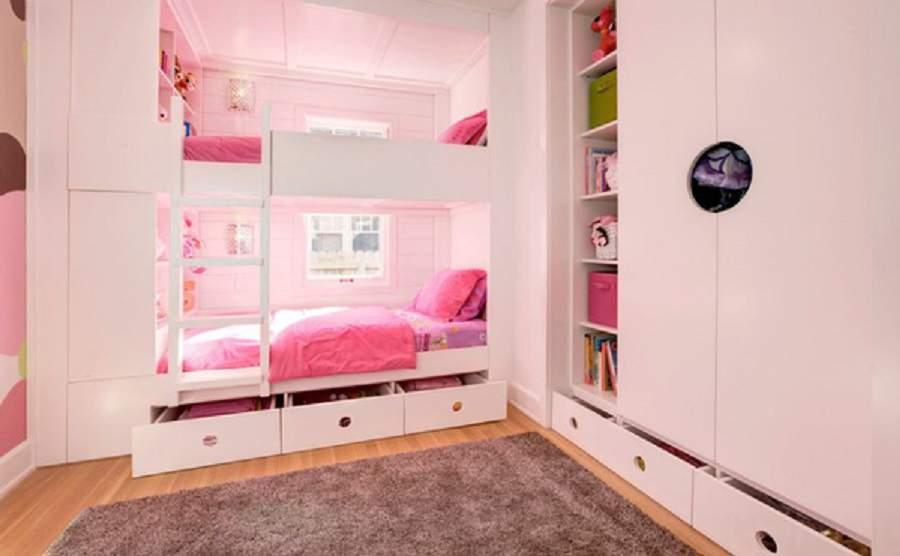 Giường ngủ có hộc kéo cho bé gái