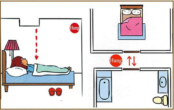 Không nên kê giường ngủ đối diện cửa nhà vệ sinh