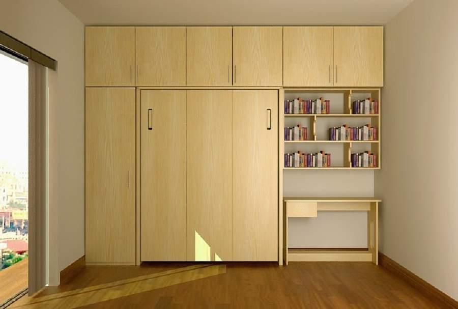 Giường gấp tiết kiệm diện tích có kết hợp với tủ quần áo