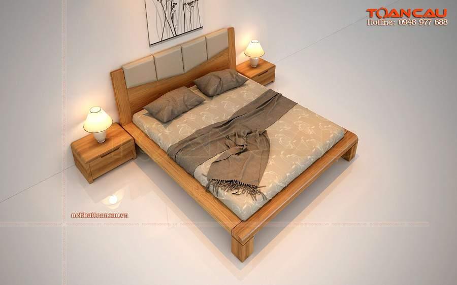 Giường ngủ gỗ tự nhiên cao cấp tại Hà Nội gỗ sồi