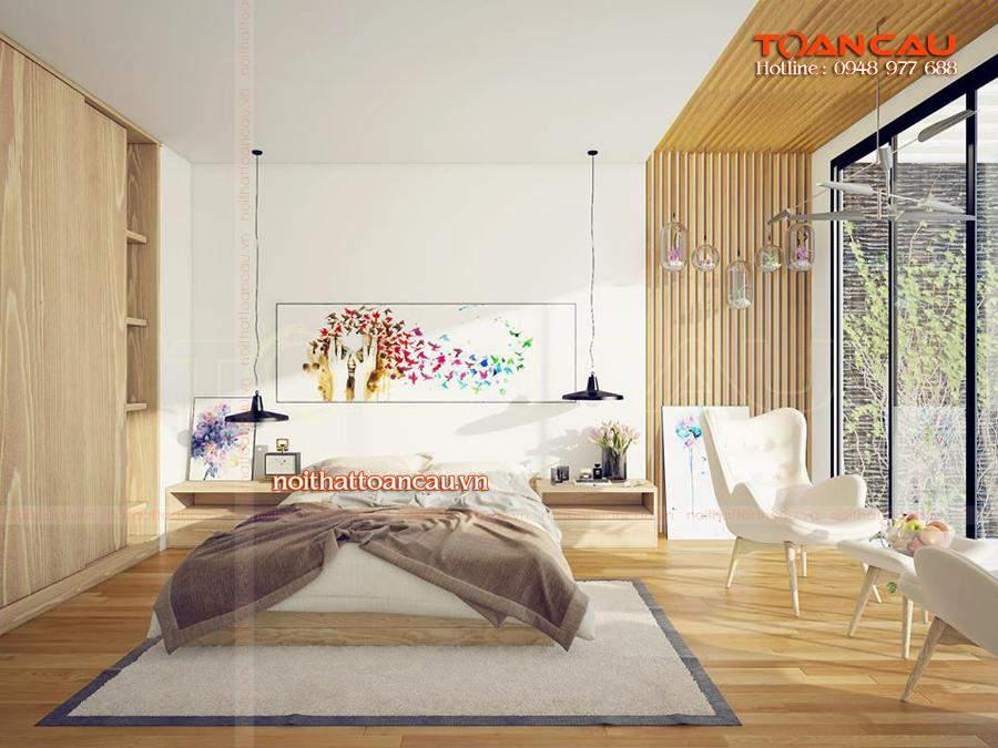 Giường ngủ thiết kế bằng gỗ Sồi đẹp, hiện đại được các gia đình lựa chọn nhiều nhất hiện nay.