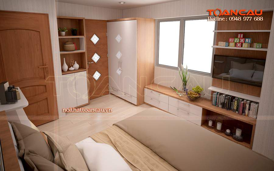 Giường ngủ đẹp - tủ Tivi đẹp - T042 làm bằng chất liệu gỗ tự nhiên tốt nhất.