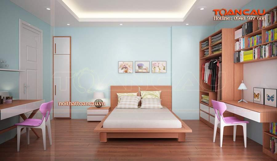 Giường ngủ đẹp - kệ tivi gỗ nội thất cho phòng ngủ được các gia đình lựa chọn nhiều nhất hiện nay.